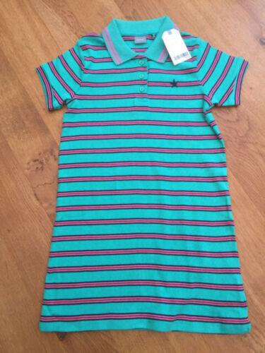 NEXT Girls Green Striped 100/% Cotton Polo Shirt Dress BNWT