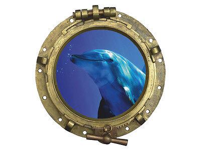 Wandsticker Sticker Aufkleber für Badezimmer Bullauge Delfin unter Wasser