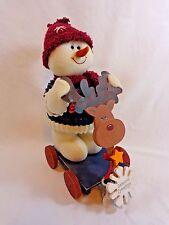 "Snowman on Reindeer Wagon Plush Figurine 12"" Wood Red Hat Blue Sweater Christmas"