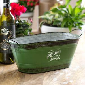 Long-Oval-Vintage-Green-Distressed-Herb-Plant-Pot-Planter-Trough-Windowsill