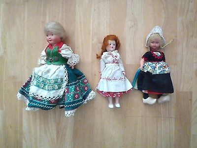 Dolls & Bears Lot Of 3 Costumed Dolls 8 To 9 Inches Need Tlc