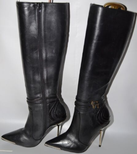 36 Full Stiletto Gold Euro Boots owned Pre 3 Length Heeled Leather Uk Biba nxvw6Cx