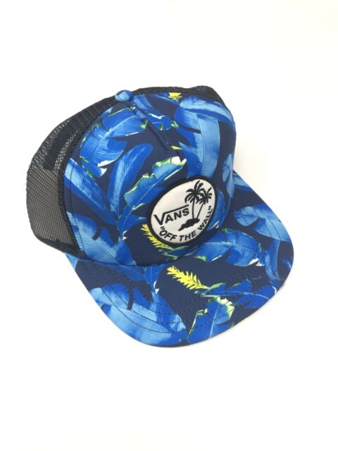 b3c5cfb7731873 Vans Surf Patch Trucker Hat Blue Tropical Palm Baseball Cap New NWT  Adjustable