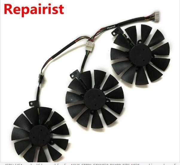 3 T129215su VGA GPU Cooling Fan for ASUS STRIX Gtx1070 Gtx980ti/r9 390x/ R9  390