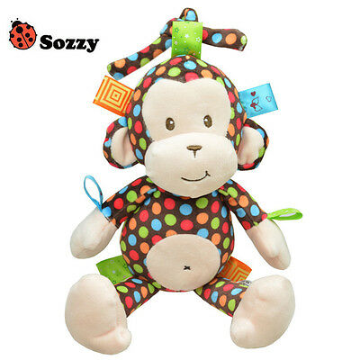 High Quality Musical Soft Appease Monkey Baby Toys Bell Hanging Car Bed Hanging