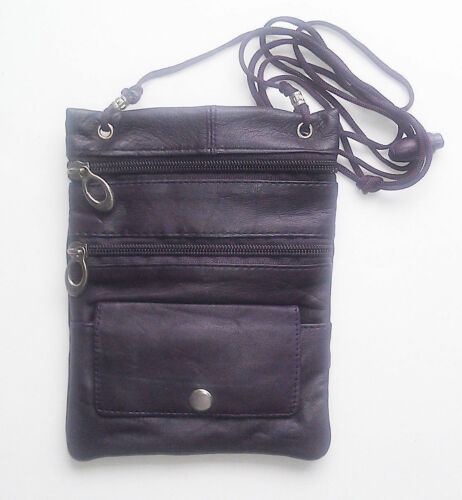 Genuine Leather Neck  Travel Pouch Passport ID Phone Bag Crossbody U.S Seller