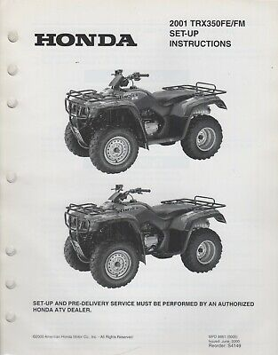 2001 HONDA ATV TRX350FE/FM SET-UP INSTRUCTIONS MANUAL (987) | eBay | Trx350fe 2002 Wiring Diagram |  | eBay