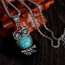 Pendentif Collier chouette hibou couleur argent et turquoise NEUF - PORT GRATUIT