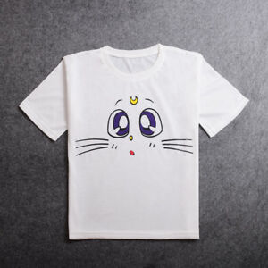 Anime-Sailor-Moon-White-Cat-Cosplay-T-shirt-Summer-Short-Sleeve-Tee-Top