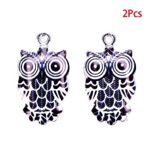 2//6Pcs//Set Enamel Alloy Animal Owl Charms Pendant DIY Craft Jewelry Making NWUS