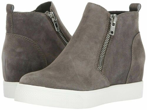 Steve Madden Women/'s Wedgie Side Zipper Soft Suede Sneaker Grey Suede