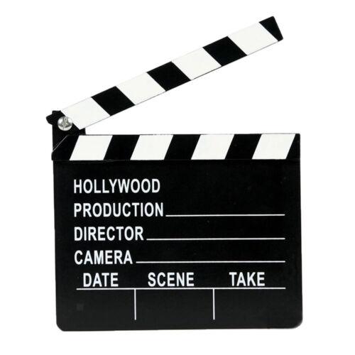 Clap Cinéma Film 20x18cm Scènes d/'Action Cut Clapper Ardoise avec Perche