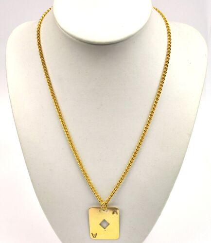 USA 1960er Hippie Halskette Kette gold-farbig Spielkarten Anhänger Karo Ass
