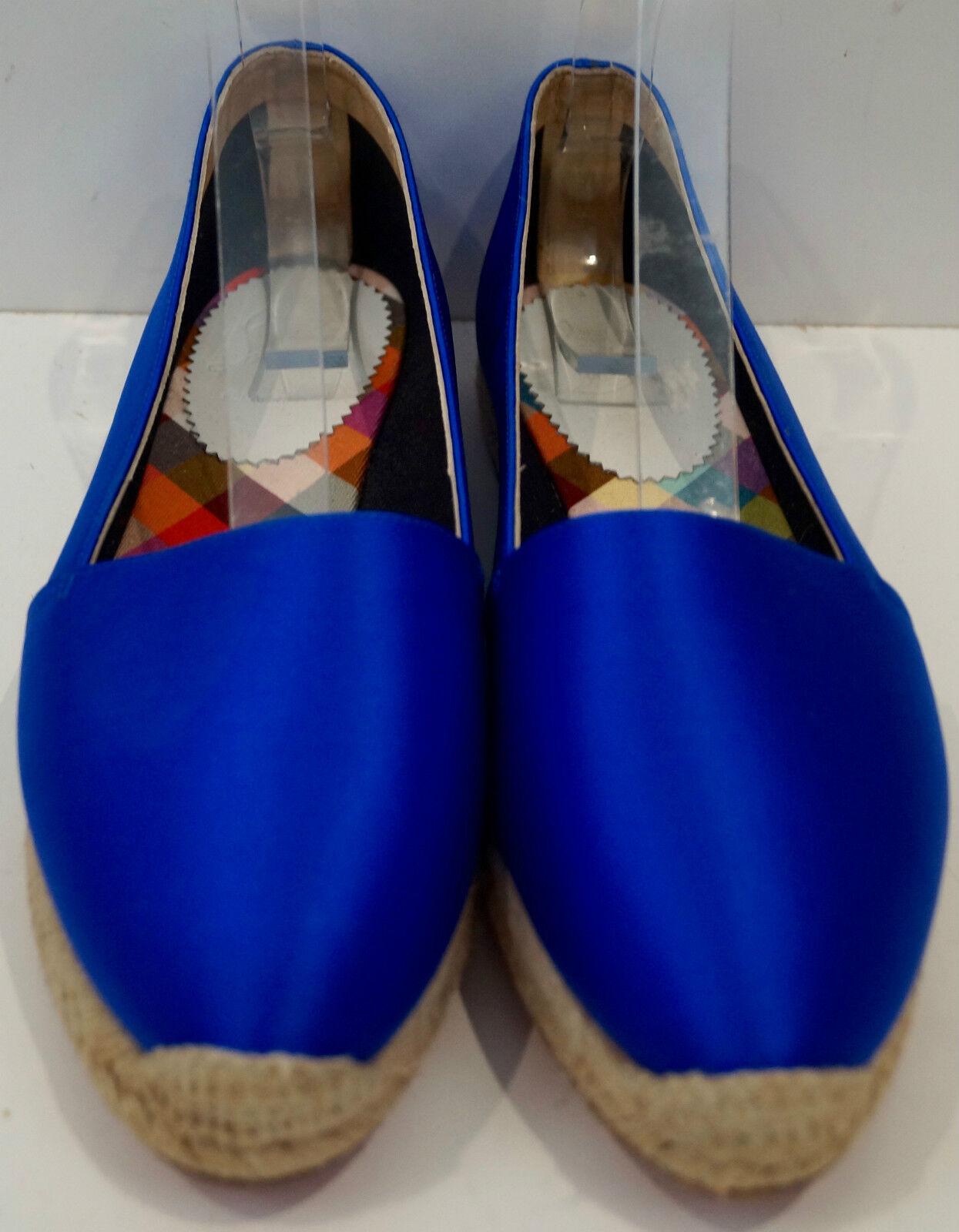 CHRISTIAN LOUBOUTIN Colbalt blau Satin Slip On Espadrilles 40 schuhes 40 Espadrilles UK7 - New c6f109
