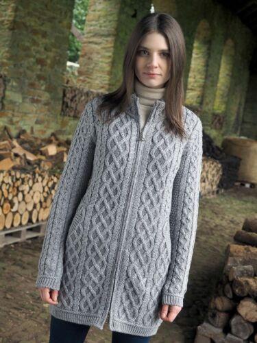 Aran Crafts Cable Plated Soft Gray Zip Long Cardigan Coat Irish Sweater z4688