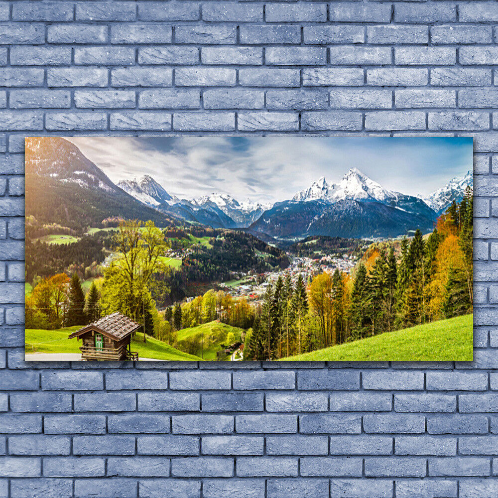 Print on Glass Wall art 140x70 Picture Image Alps Landscape