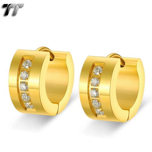 TTstyle 7mm Gold Stainless Steel Thick Hoop Earrings A Pair With Clear CZ NEW