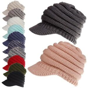 69aa086bf8e Fashion Womens Stretch Knit Hat Messy Bun Ponytail Beanie Winter ...