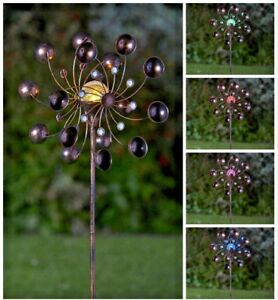 Bronze Colour Changing Solar Wind Spinner Windmill Garden