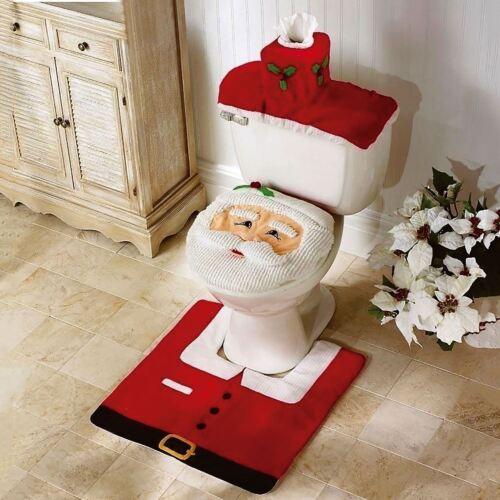 3pcs Fancy Santa Toilet Seat Cover+Rug Bathroom Sets Christmas Xmas Decoration