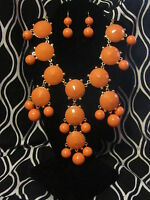 Coral Colored Large Bold Women's Jewelry Set Necklace Earrings Cascade