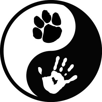 Multiple Sizes and Colors Available Yin Yang Dog Paw Decal Sticker Hand print paw print Peace Love Pets Zen Ying Adopt Balance Rescue