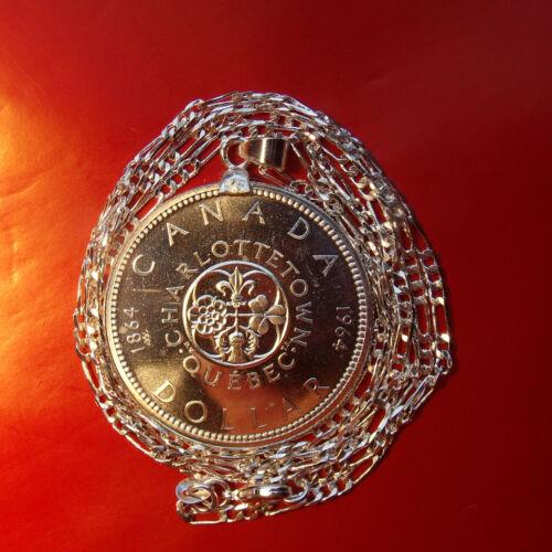 1964 Commemorative Canada Charlottetown Coin Pendant Silver Figaro Style Chain