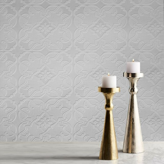 Brewster White Paintable Easy Textures Prepasted Wallpaper Double