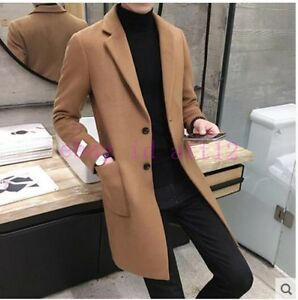 Men-039-s-Wool-Blend-Long-Style-Slim-Fit-Trench-Coat-Casual-Outwear-Jacket-Overcoat
