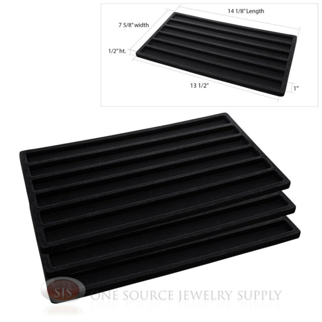 (3) Black Compartment Flocked Display Inserts For Jewelry Cases and Trays