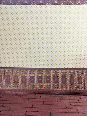 "Dollhouse Brodnax Wallpaper Striped Pale Green Cream Tan /""Carlton/"" 1:12 Scale"