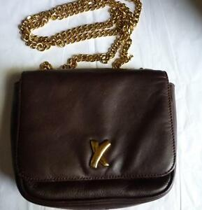 Italy Maroon Leather Gold Chain Bag