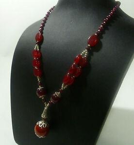 Collar-Collar-Mujer-Collar-Cadena-Rojo-Marron-Piedra-Natural-AGATA-NUEVO