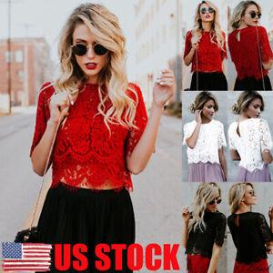 US-Summer-Women-Short-Sleeve-Elegant-Crochet-Lace-Crop-Top-Hollow-Out-Tank-Tops