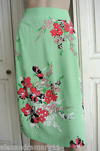 New-Ex-Maine-Debenhams-Green-White-Pink-Black-Floral-Print-Jersey-Skirt-8-26