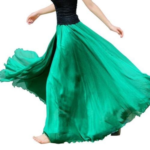New Women Double Layer Chiffon Pleated Retro Elastic Waist Maxi Long Dress Skirt