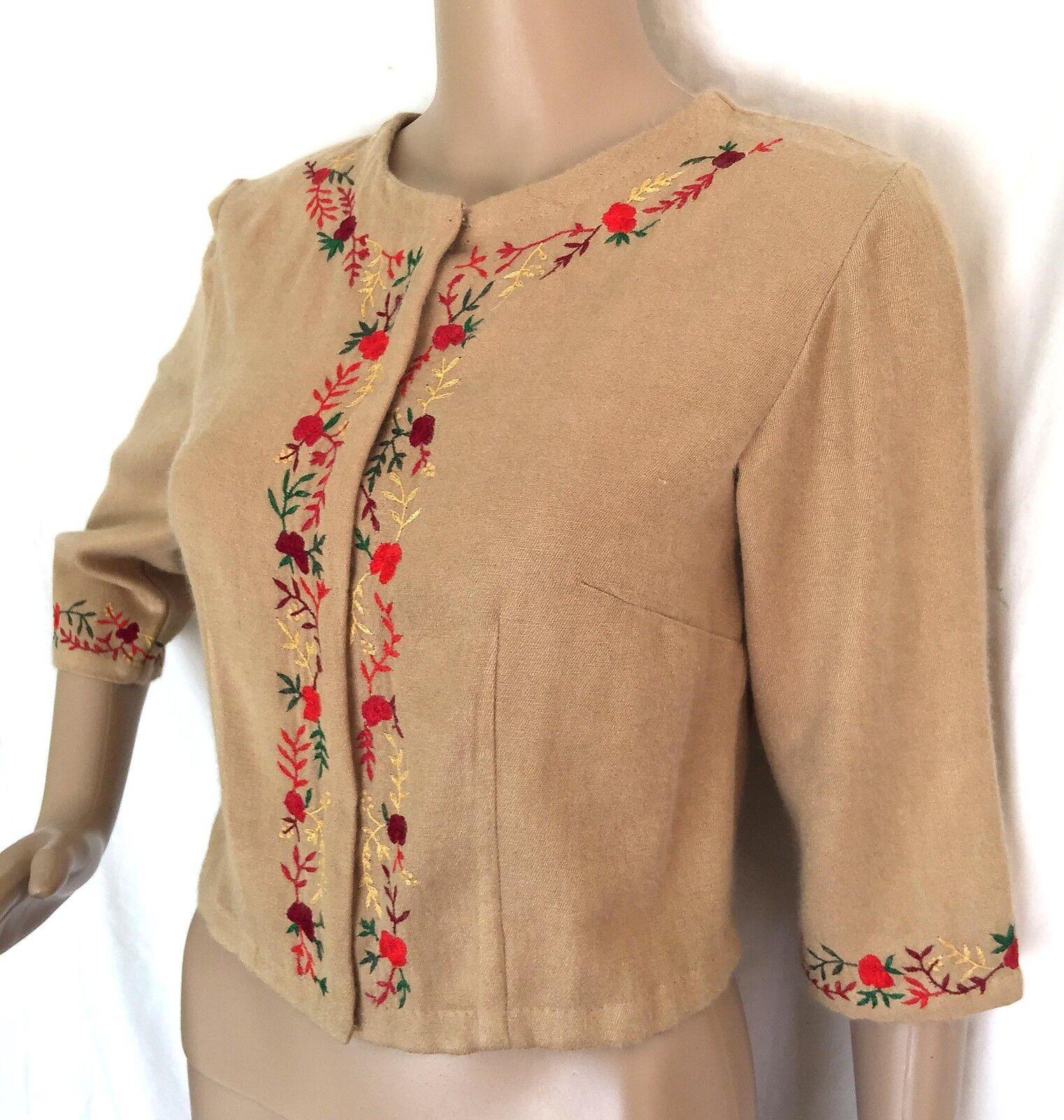 Anopia Collezioni Beige Embroidered Cashmere Silk Blend Cardigan - Size 4- NWT