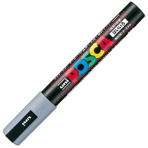 Gray Uni Posca PC5M.37 Water-Based Paint Marker Medium Point