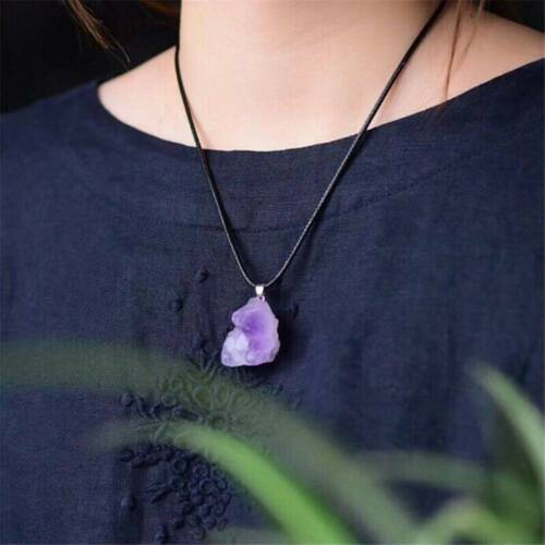 HOT Natural Amethyst Crystal Stone Pendant Healing Mineral Necklace Jewelry UK.