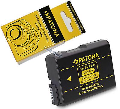Batteria Originale Patona EN-EL14 per Nikon D3300 D5300 D3200 D5200 D5100 D3100