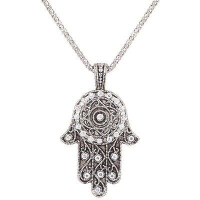 Tibetan Silver Jewelry Sweater Chain Necklace Women Pendant Crystal Plam Design