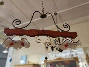 Lampadari In Ferro E Ceramica : Lampadario 2 luci in legno e ferro battuto ruggine paralumi in