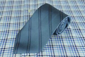 Brooks Grundlagen Krawatten Industriell Blaue Streifen Gewebte Seide 147x8.9cm Kleidung & Accessoires