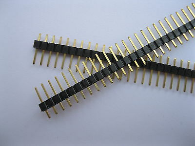 60 pcs 2.54mm Breakable Pin Header 1x40 40pin Male Single Row Strip Gold-Plated