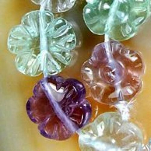 12mm Carved Colorful Flourite Flower Beads 16pcs