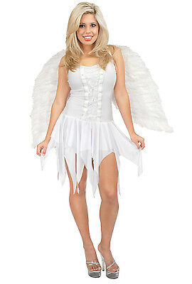 Angel Dress White Christmas Guardian Fancy Dress Up Halloween Adult Costume