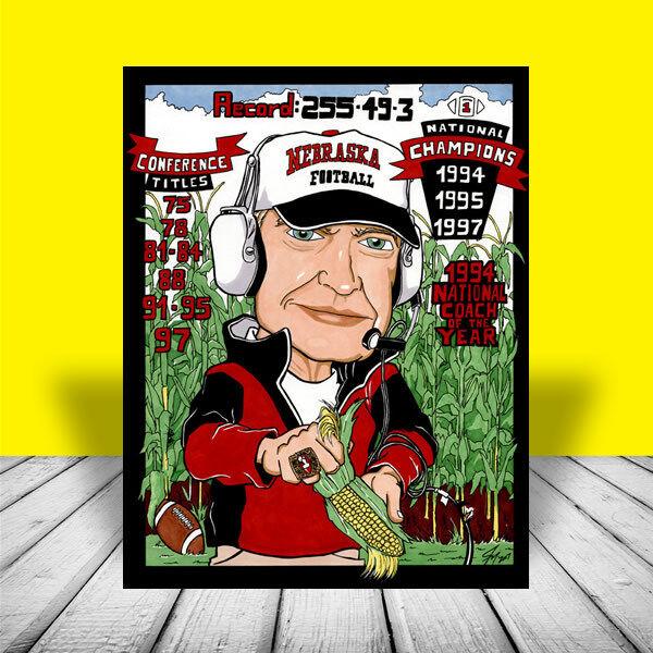 New TOM OSBORNE Nebraska Cornhuskers football POSTER ART, auto. signed by artist