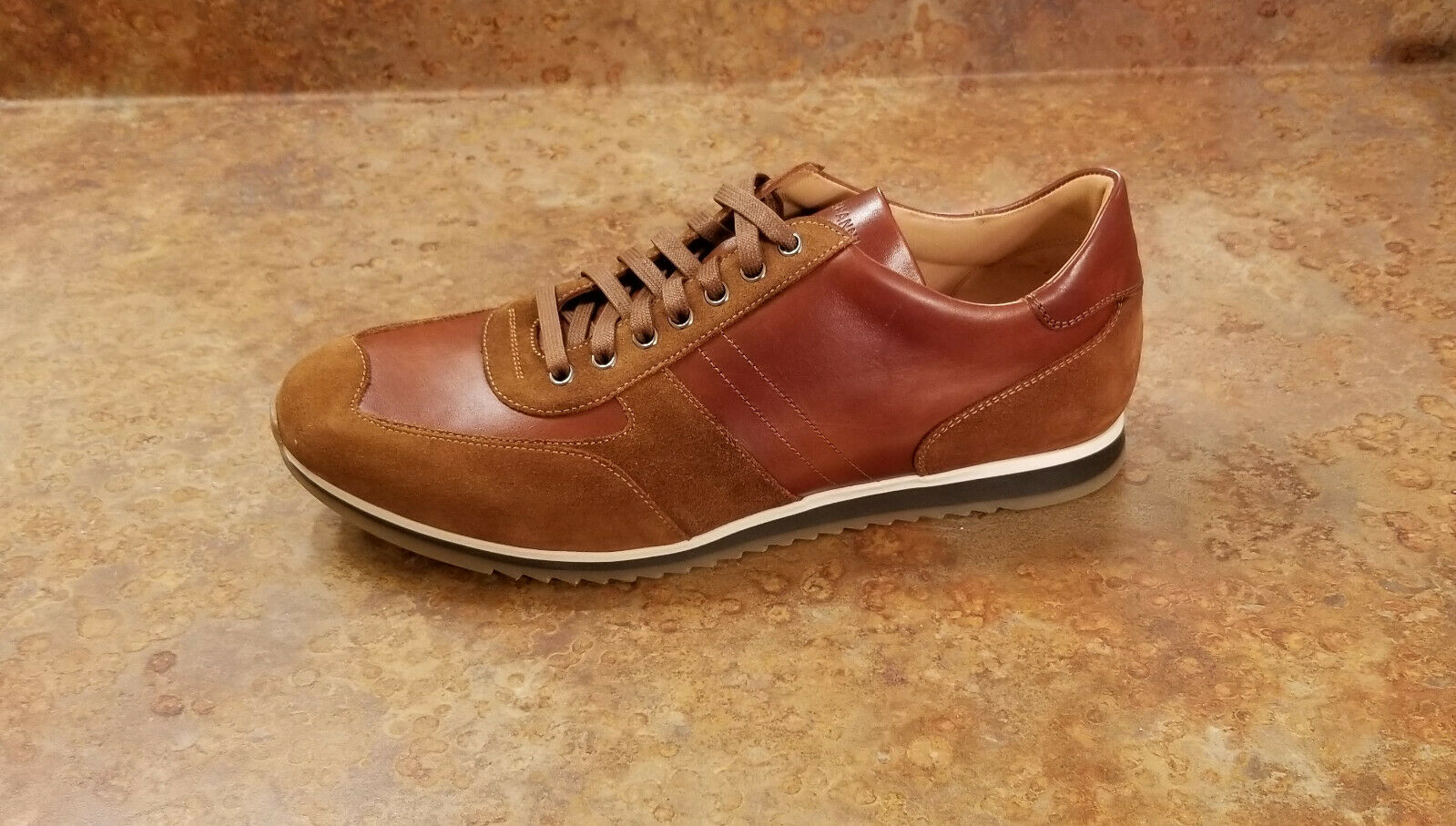 New  Magnanni 'Berkelely' Low Top Marronee Leather scarpe da ginnastica Mens 10 M MSRP  325