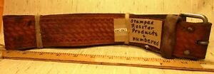 Vintage-Maker-Marked-Basket-Stamped-Heavy-Leather-Saddle-Strap-Rooster-Products