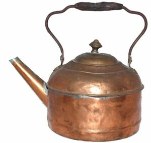 Antique-Copper-Kettle-Tea-Water-Primitive-Solder-Repairs-Hammered-US-Seller